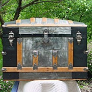 Large Restored Antique Humpback Trunk Circa 1890's