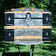Restored Antique Humpback Trunk by M M Secor Trunk Co w/ Original Interior