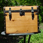 Antiques Ladies 1/2 Trunk Nicely Restored