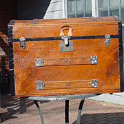 Large Antique Humpback Stagecoach Trunk - 1869, 70 & 77 Patent Dates!