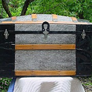 Large Fancy Restored Humpback Trunk w/ Embossed Tin in A Flower Pattern