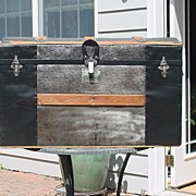 Beautifully Restored Antique Trunk With Embossed Tin