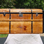 Antique Curved Top Stagecoach Trunk w/ Awesome Restoration