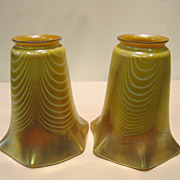 Pair of gold iridescent pulled feather Fostoria &quot;Iris&quot; art glass shades