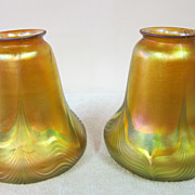 Pair of Quezal bell shaped shades