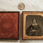 SALE 19th Century Daguerreotype of Woman Wearing Jewelry