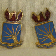 SALE WWII US Army Air Corps Sterling Silver and Enamel DI Crests