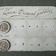 19th Century Diamond Jubilee Buttons on Display Card