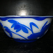 SALE Qing Dynasty Peking Glass Bowl, Blue Carved to White