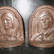 """The Aviator"" Lindbergh Cast Iron Bookends"
