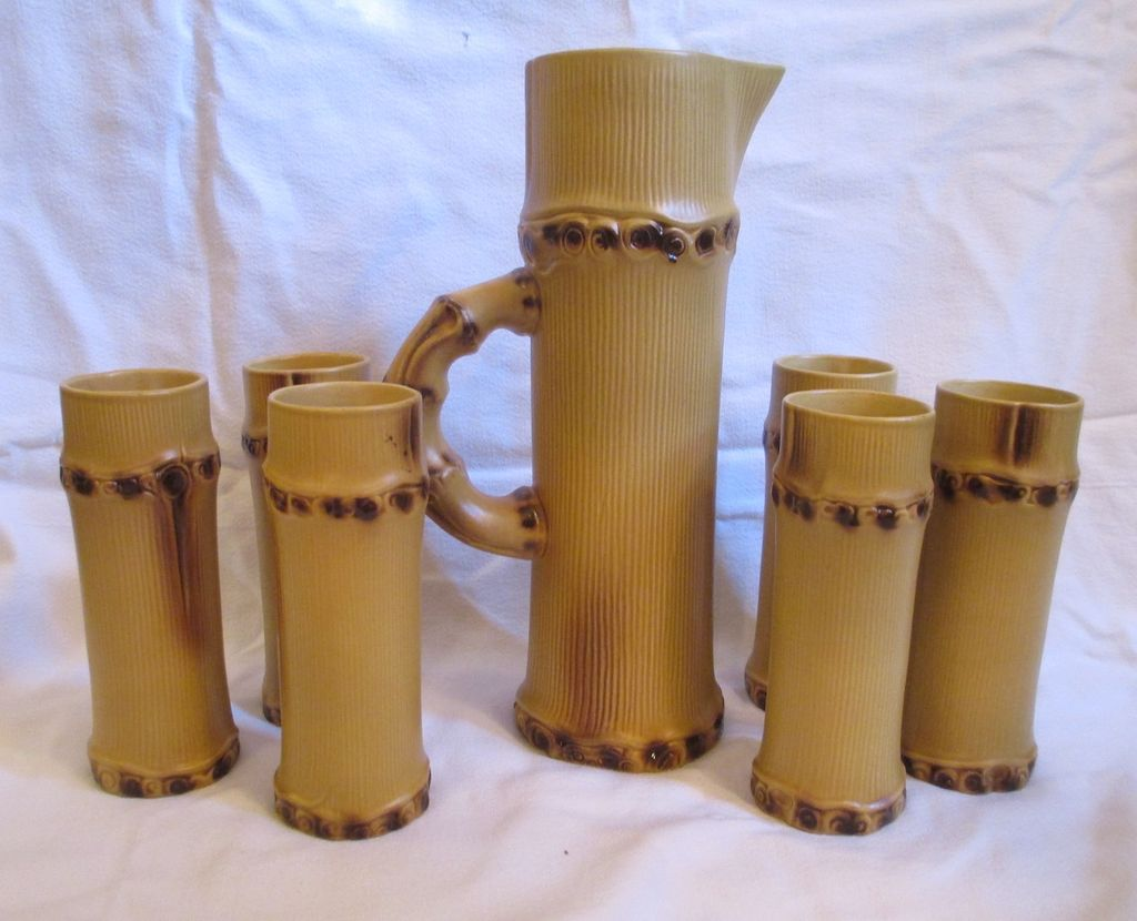 Pol Chambost Ceramic Orangeade &quot;Bamboo&quot; Set