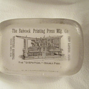 Glass Advertising Paper Weight - printing press