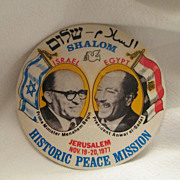 1977 Israel Egypt Peace Mission Button