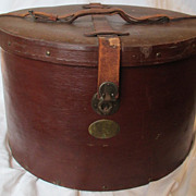 Vintage Men's Hat Box With Leather Straps and Brass Plate