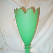 Green Opaline Satin Glass Celery Vase