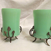 Pair of Green Opaline Glass Tumblers with Pedestals