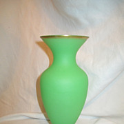 Green Opaline Satin Glass Vase