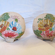 Vintage Hand Painted Round Ceramic Salt and Pepper Shakers