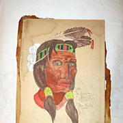 Sioux Indian Brave Watercolor Painting, Signed Henry Crowskin