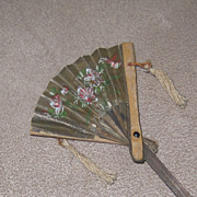 Geisha's Long handled bamboo and hand painted paper fan for French fashion doll