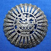 Vintage Sterling Marcasite  Art Deco Flower Basket Brooch Pin