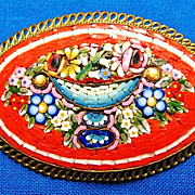 Large Mosaic Flower Basket Floral Arrangement  Brooch Pin Brass Frame