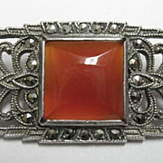 Vintage 1920's Art Deco Sterling Marcasite Carnelian Pin