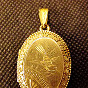 Large Gold Filled Victorian Picture Locket Pendant Etched Bird