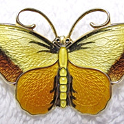 Large Hroar Prydz Sterling Enamel Basse-Taille Butterfly Pin Brooch