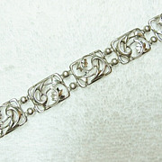 Sterling Silver Simmons Art Deco Bracelet With Abstract Flowers