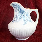 French Keller & Guerin Luneville blue and white Art Nouveau Transfer Ware Jug c1905