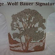 Large Designer  Vase Porcelain Fan Shaped signed Wolf  Bauer by Hutschenreuther circa 1970