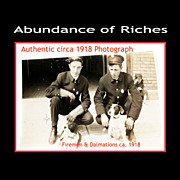 Rare Firemen with Dalmation Dogs: Authentic Photograph ca. 1918 to 1920