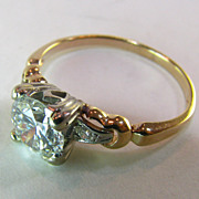 SOLD Engagement Ring 1.01 Center Diamond circa 1940's - 1950's