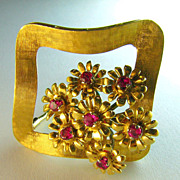 Retro Burmese Ruby 18k Articulating  Brooch