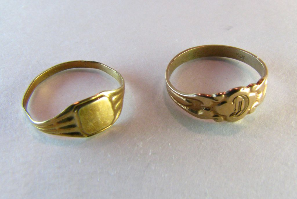 Baby Ring Set 10k Solid Gold Victorian To Deco From