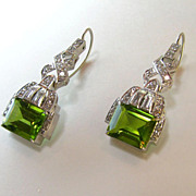 Divine Art Deco Platinum Peridot Earrings
