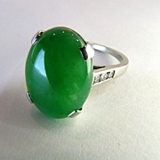 SOLD Exquisite Deco Jadeite Jade Platinum Ring-Certified Natural GradeA
