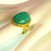 SALE The Most Fabulous 22k Chrysoprase Ring