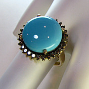 SOLD Persian Turquoise Brown Diamond 14k Ring Beautiful!