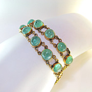 SALE Antique Late Victorian 14k Emerald Bracelet Pair
