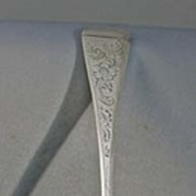 1809 Embossed English Sterling Serving Spoon