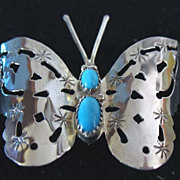 Navajo Sterling and Turquoise Butterfly Brooch