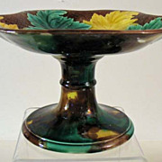 Vintage Majolica Compote, Colorful Leaf Design