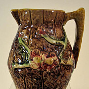 Vintage Majolica Pitcher with Floral Design