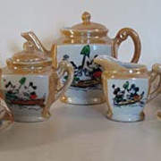SOLD Child's Mickey Mouse Tea Set, Japanese Lustre