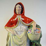Victorian English Staffordshire Figure, Red Riding Hood