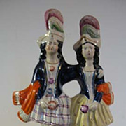 Victorian Staffordshire Man and Woman with Clock