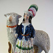 English Staffordshire Girl with Sheep