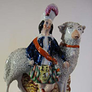 Victorian Staffordshire Boy with Lamb